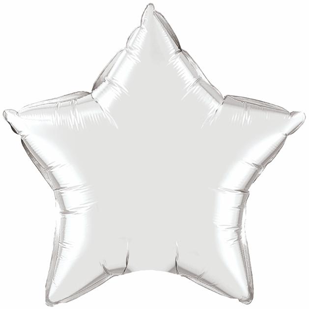 "36"" Qualatex Star Foil Mylar Balloon Silver"