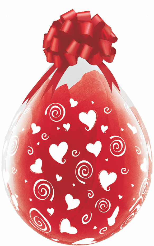 "18"" Stuffing Balloons Swirling Hearts Clear (25 Count)"