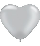 "6"" Heart Latex Balloons (100 Count) Silver"