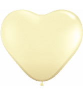 36 Inch Heart Latex Balloons (2 Count) Ivory Silk