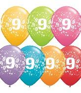 "11"" Number 9 Nine Festive Assortment 50 per bag"