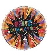 "18"" Foil Balloon Bulk - Starburst Feliz Cumpleanos"