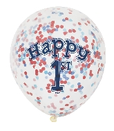 """6 Count 1st Birthday 12"""" Balloons Confetti Paper"""