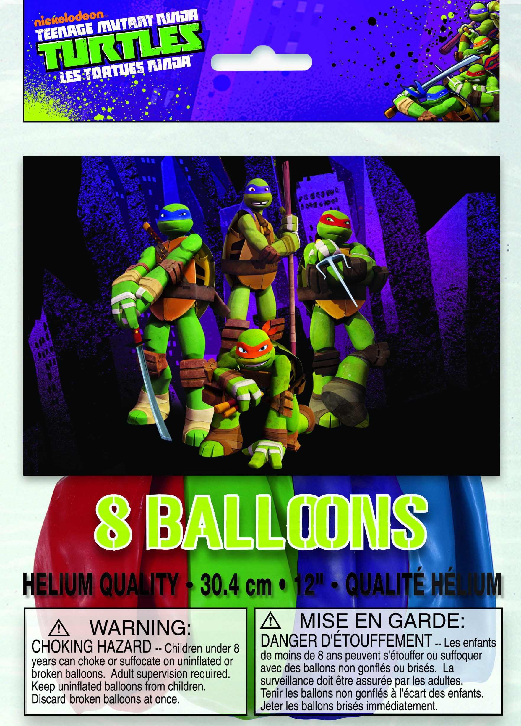 "12"" Teenage Mutant Ninja Turtles Assorted Colors 8 Count"