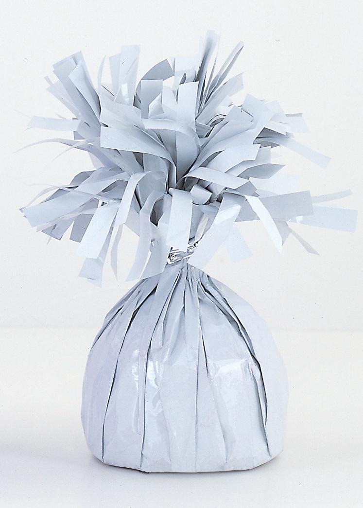6OZ White Foil Wrapped Balloon Weight