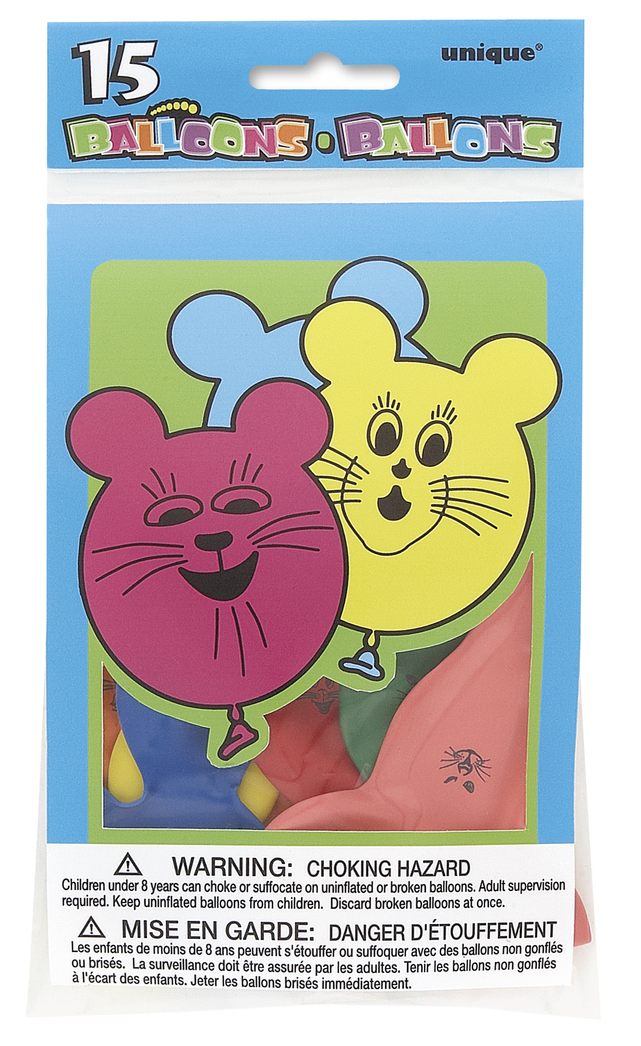 15 Pack Mouse Balloons Assorted