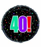 "18"" 40th Birthday Cheer Foil Balloon Packaged"