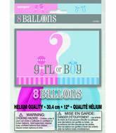 "12"" Gender Reveal Pink & Blue Assortment 8 Count"