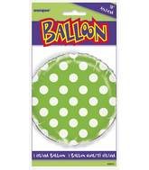 "18"" Packaged Lime Green Polka Dots Balloon"
