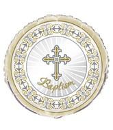 "18"" Radiant Cross Baptism Silver/Gold Foil Balloon"