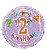 "18"" Foil Balloon Polka Dot Birthday 2nd"