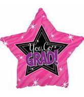 """18"""" You Go Grad Pink Balloon"""