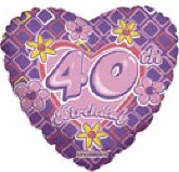 "18"" 40th Birthday Flower Heart Balloon"