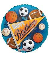 "18"" Happy Birthday Sports Pennant Balloon"