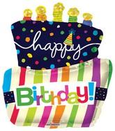"36""  Happy Birthday Funky Cake Shape Mylar Balloon"