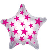 "22"" Pink Patterned Star Clear Balloon"