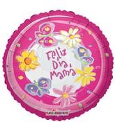 """18"""" Feliz Dia Mama Pink Swirls"""
