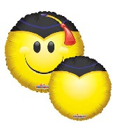 "18"" Smiley with Grad Cap Balloon"