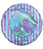 "18"" Happy 1st Birthday Pink Poodle"