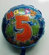 """18"""" Age 5 Dinosaur Birthday Balloon"""