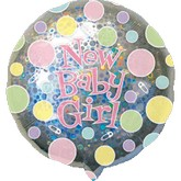 "32"" Holographic New Baby Girl Dots"