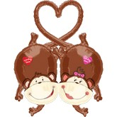 "38"" Multi-Balloon Kissing Monkeys"