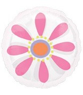 "18"" Pink Daisy MagiColor Clear Balloon"