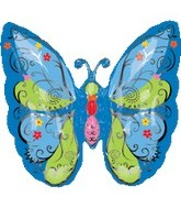 "25"" Graphic Blue Butterfly Balloon"