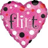 "18"" Pink Flirt Dots Heart Mylar Balloon"