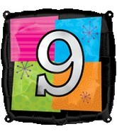 "18"" Foil Mylar Balloon Number # 9"