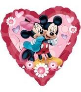 "32"" Mickey And Minnie Heart Shape Balloon"