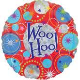 "18"" Holographic Woo Hoo! Happy Birthday Balloon"