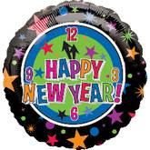 """18"""" Happy New Year Clock & Stars"""