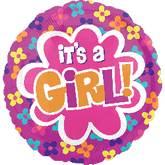 "21"" It's A Girl Balloon Flowers"