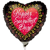 "9"" Airfill Happy Sweetest Day Heart Black"