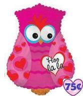 """24"""" Hoo La La Owl Balloon Shape Pink Packaged"""